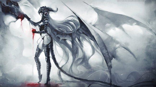 Девушка демон гладит дракона