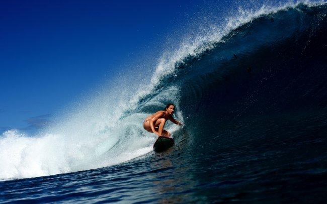 Серфинг, девушка, волна