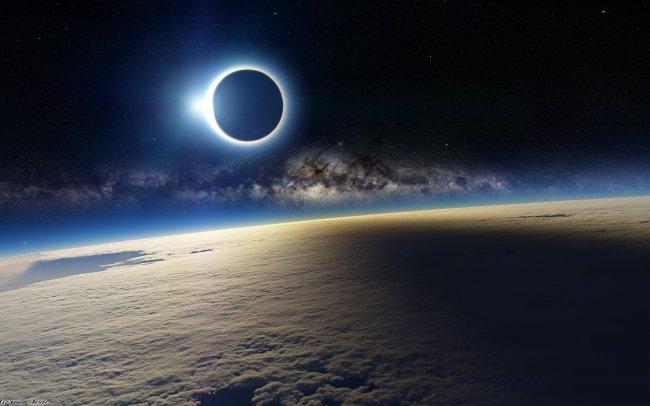 Солнечное затмение вид из космоса