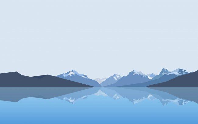 Минималистичные горы и вода