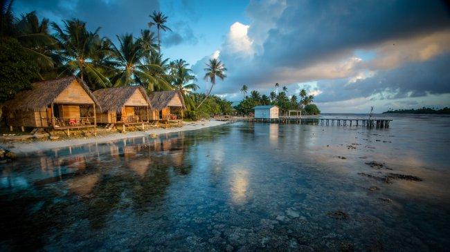 Бунгало на экзотическом пляже Факарава в Французской Полинезии