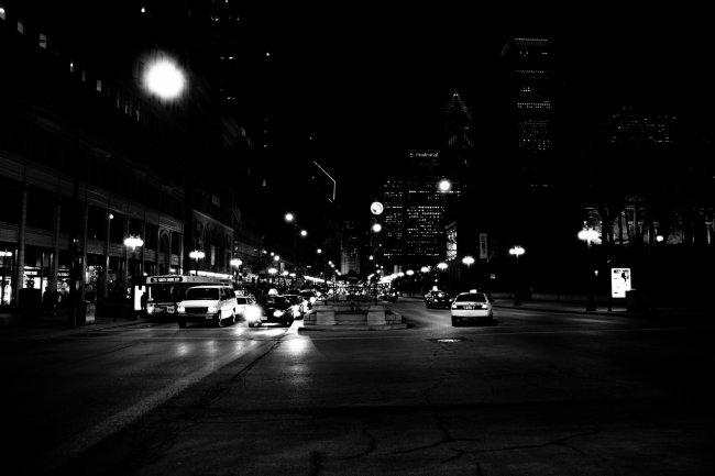 Ночная улица Чикаго