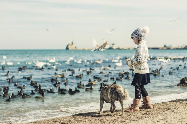 Девочка с собакой на берегу моря