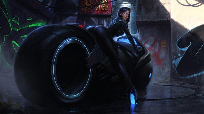 Кибер девушка на мотоцикле