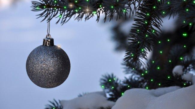 Серебристый шар на елке