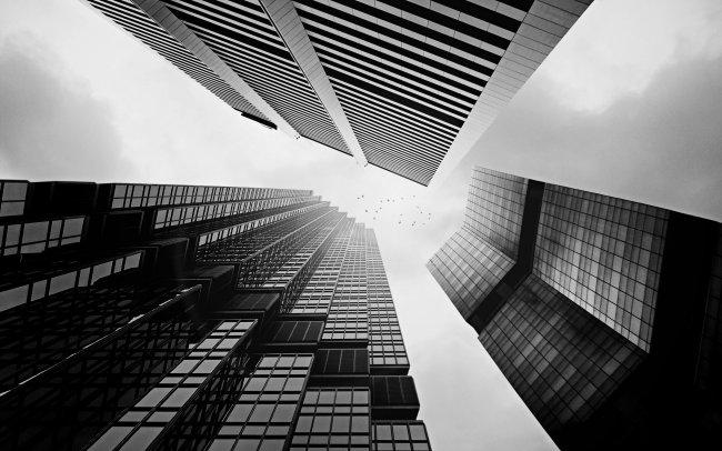Черно-белые городские здания