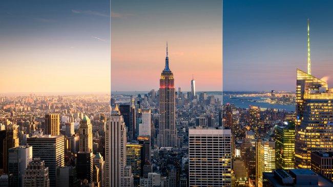 Эмпайр-стейт-билдинг в Нью-Йорке на острове Манхэттен