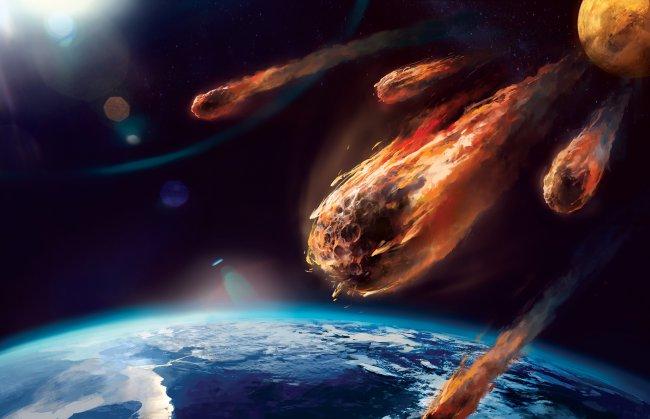 Астероиды над планетой Земля