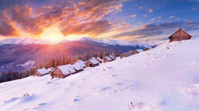 Домики на склоне горы