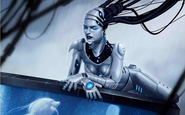 Кибер-девушка на краю аквариума