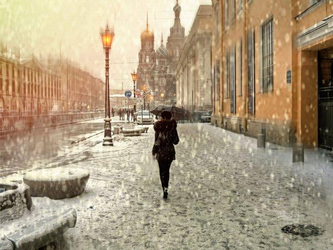 Девушка под дождем, Санкт-Петербург, Россия