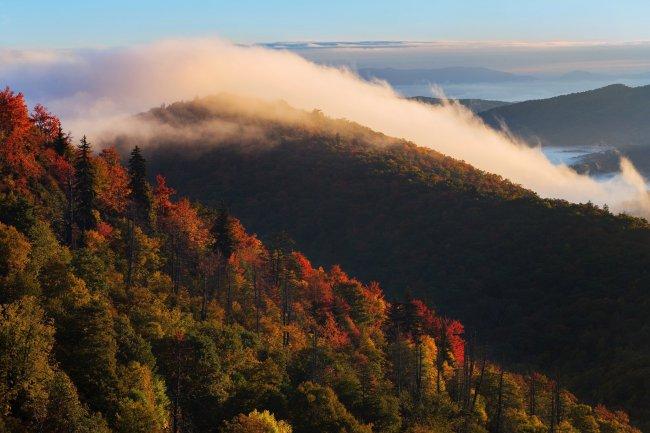 Голубой хребет в Северной Каролине, США