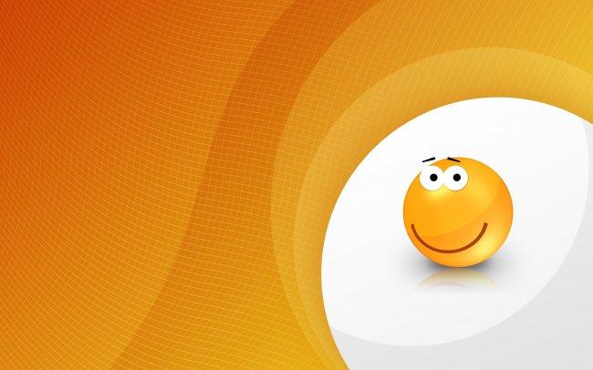 Оранжевый веселый смайлик