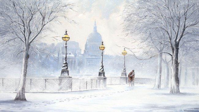 Живопись зимнего города, художник Джефф Роланд