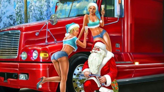 Дед Мороз и две сексуальные Снегурочки
