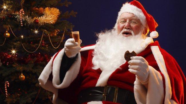Дед Мороз сидит у ёлки