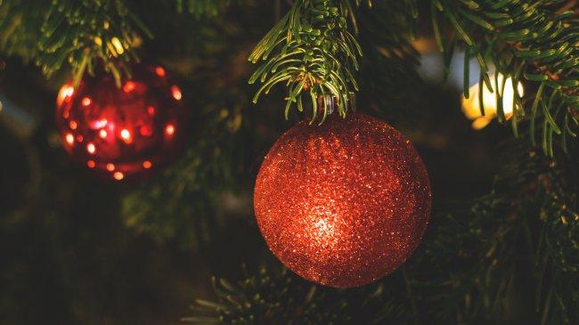 Елочные шары на елке