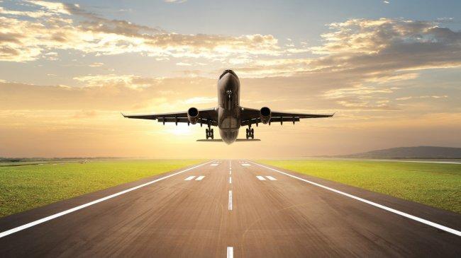 Самолет приземляется на взлетно-посадочной полосе