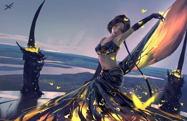 Золотые бабочки парят вокруг танцующей девушки, by Wlop