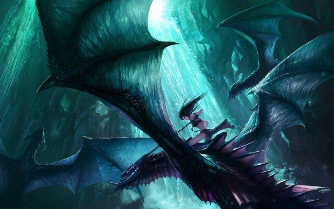 Темная эльфийка на драконе