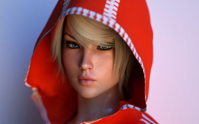 Блондинка в капюшоне