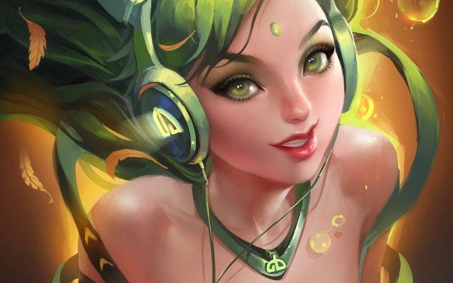 Зеленоволосая девушка в наушниках, by Sakimichan