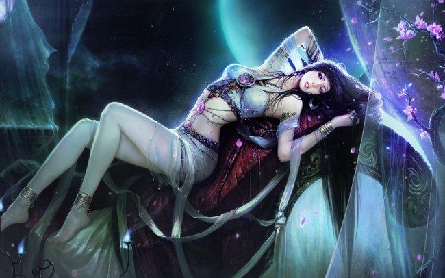 Брюнетка ночью под звездами