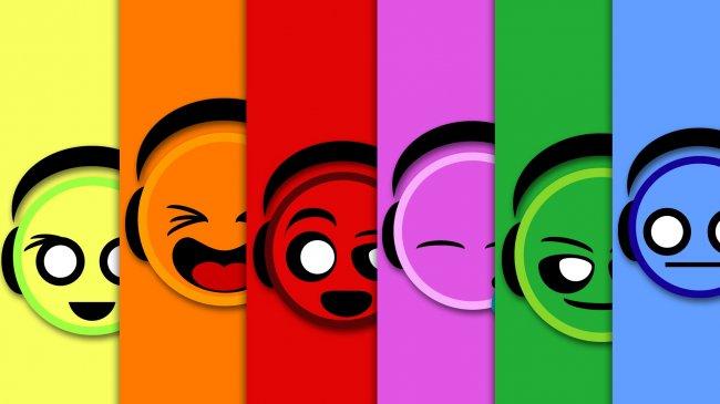 Разноцветные клавиши с прикольными картинками
