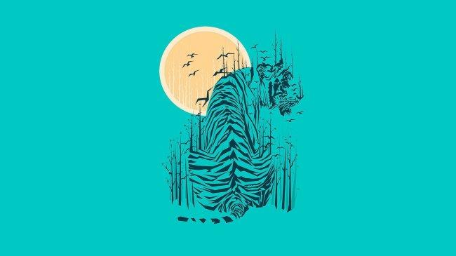 Тигр на фоне солнца