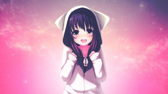 Милая девочка в капюшоне с ушками