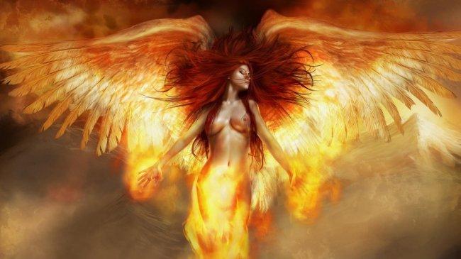Рыжая девушка с крыльями в огне