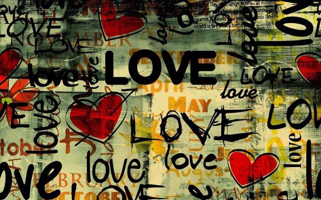 Стена с надписями LOVE