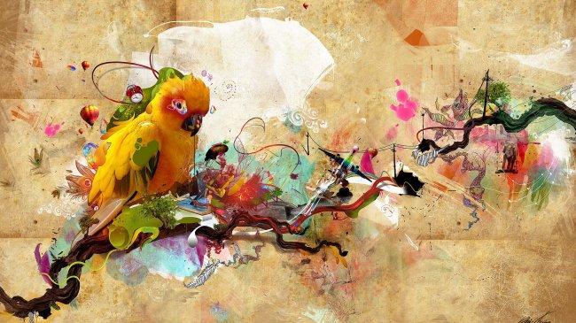 Коллажс попугаем