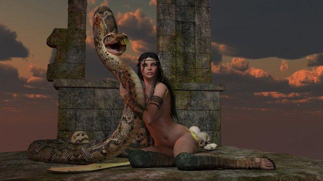 Обнаженная девушка в обнимку со змеёй