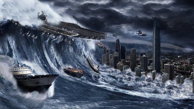 Гигантская цунами накрывает город