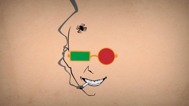 Контур лица с сигаретой и в очках