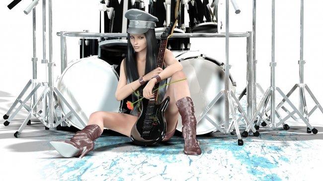 Девушка сидит с гитарой возле барабанной установки