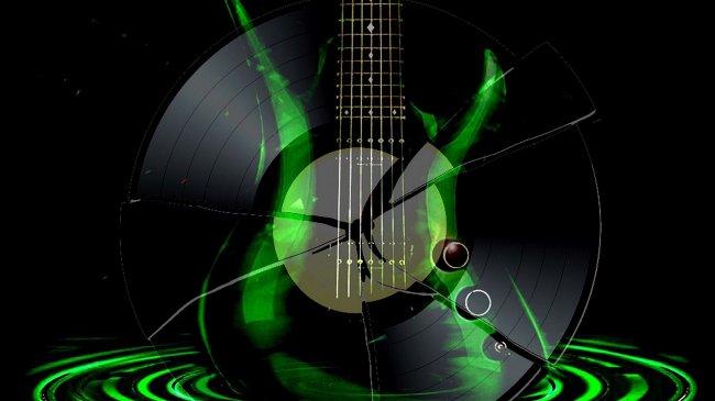 Очертания гитары и разбитой грампластинки