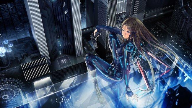Девушка на крыше небоскреба