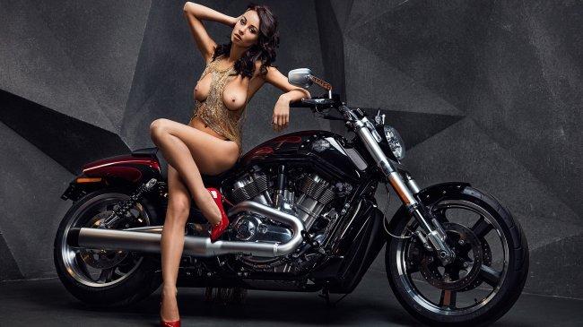 Обнаженная девушка рядом с Harley Davidson