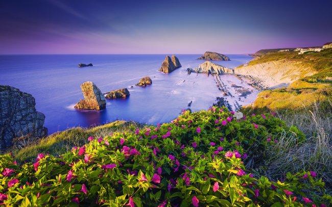 Пейзаж Бискайского залива в Испании