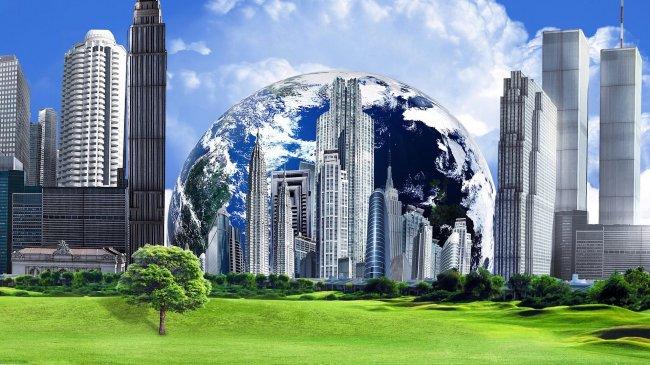 Город на фоне гигантской планеты