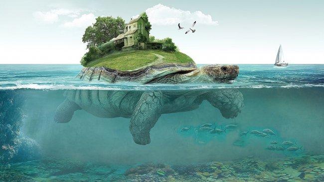 Гигантская черепаха с островом на панцире
