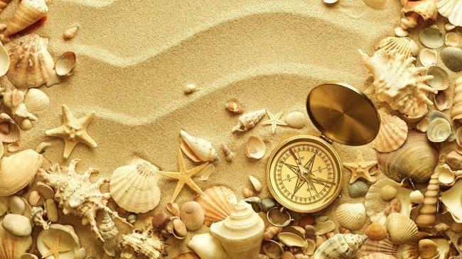 Ракушки и компас на берегу