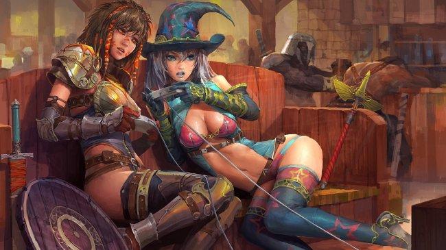 Девушки в баре играют джостиками