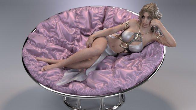 Девука лежит на круглом диване