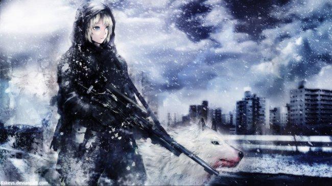 Девушка с оружием и белым волком