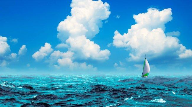 Плывущий по морю парусник