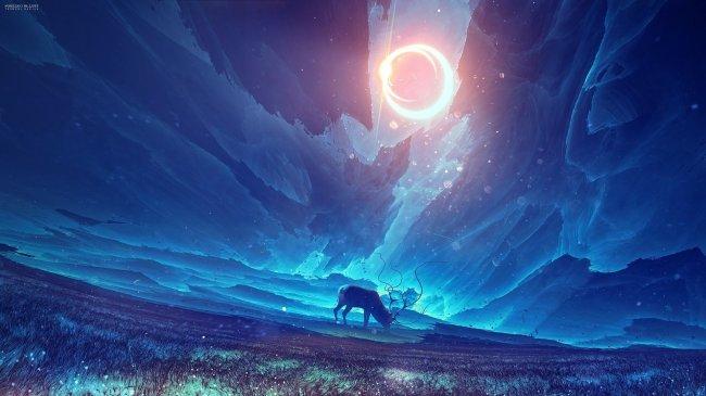 Силуэт оленя, ночью в поле