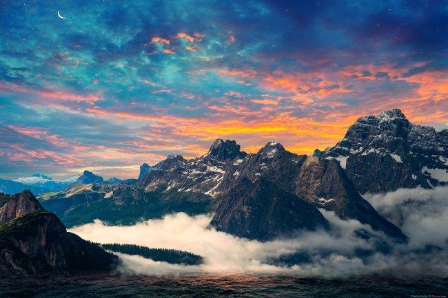 Рассвет над доломитовыми горами